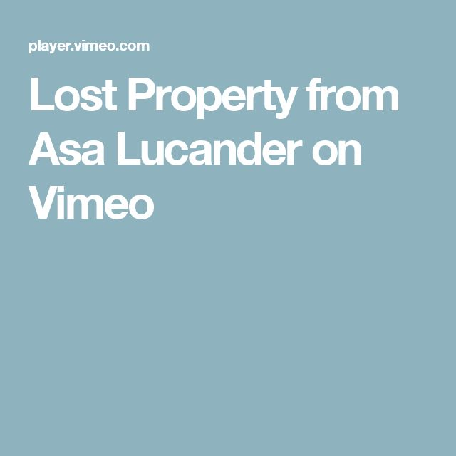 Lost Property from Asa Lucander on Vimeo