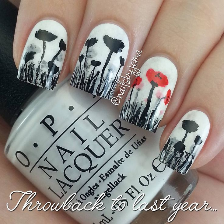 Remembrance Day/Veterans Day/Poppy Day nails
