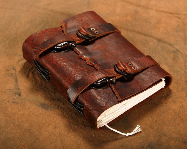 Leather Journal - Dual adjustable strap / Diary / Notebook / Sketchbook. $60.00, via Etsy.