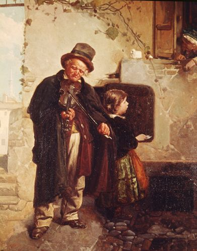 Gerolamo Induno, Fiddler with Child