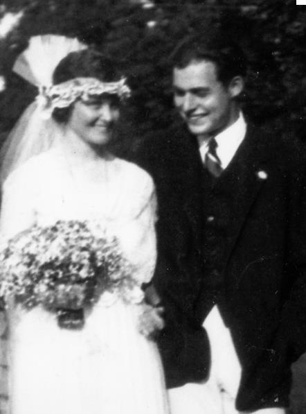 Ernest Hemingway (1899-1961) at his 1921 wedding to Elizabeth Hadley Richardson, a redhead 8 years older than Ernest, and the first of his four wives.