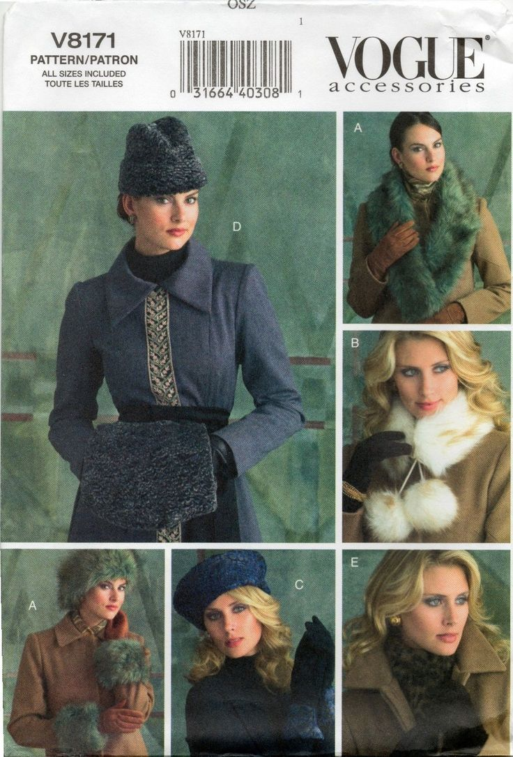 Vogue Misses' Vtg Fur Hats Muff Collar Chemisette Gloves Pattern 8171 | eBay