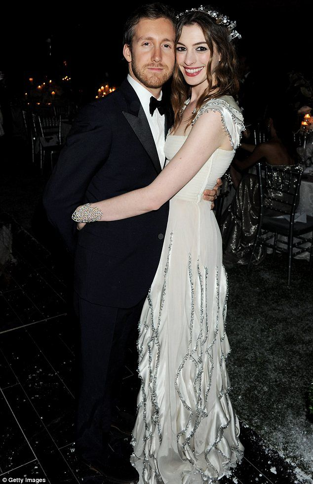 Just married: Anne Hathaway tied the knot with Adam Shulman on Saturday at a ceremony which took place in Big Sur