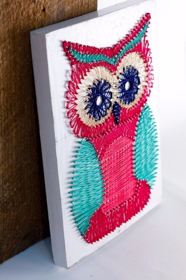 DIY String Art Projects - DIY Owl String Art - Cool, Fun and Easy Letters…