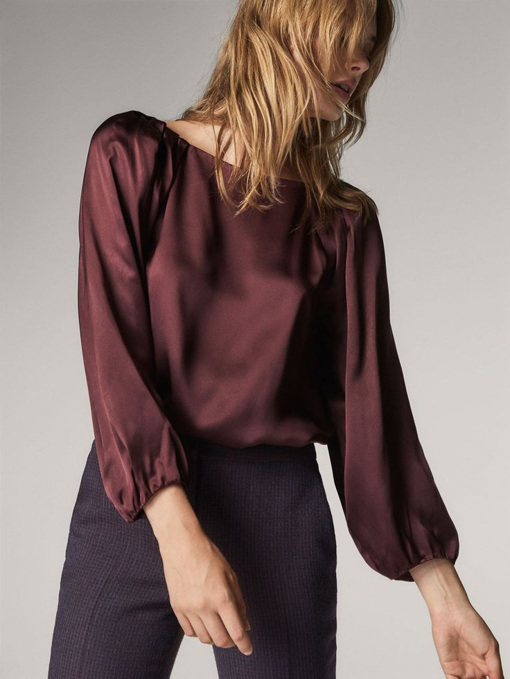 Fall Winter 2017 Women´s GATHERED SILK BLOUSE at Massimo Dutti for 59.95. Effortless elegance!
