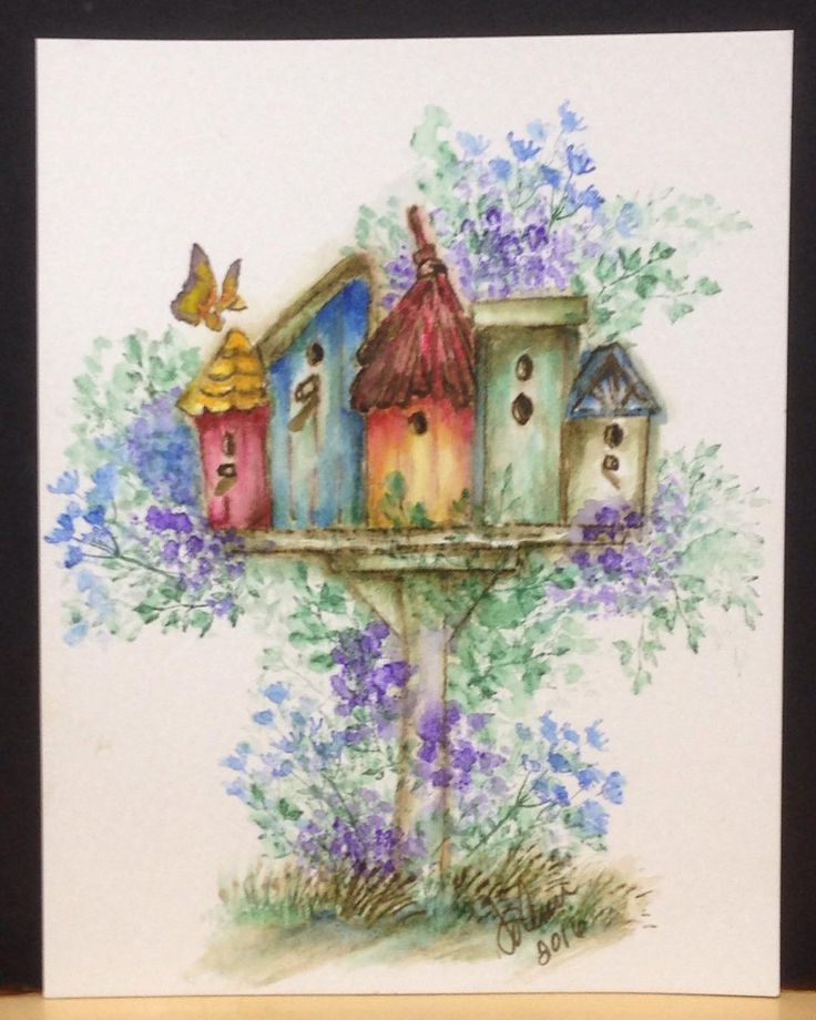 Art Impressions Rubber Stamps: Wonderful Water Color. Handmade watercolor card.  birdhouses, birds, foliage