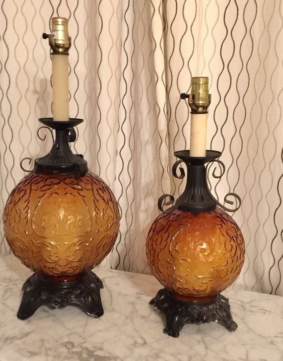 Amber Glass Globe Table Lamps Vintage Mid Century Large