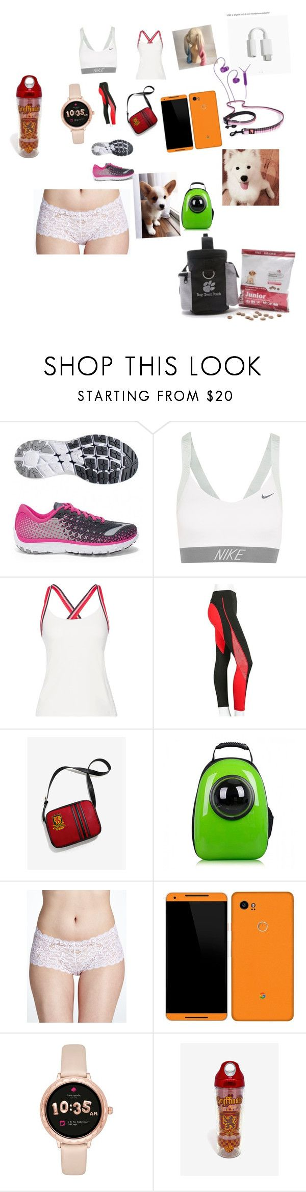 """run"" by alicewholocked ❤ liked on Polyvore featuring Brooks, NIKE, Tory Sport, Warner Bros., Corgi, Hanro and Kate Spade"