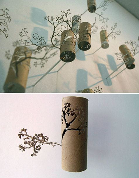 Amazing! An everyday tp roll transformed into carved branches that float on a wall. By artist yuken teruya.