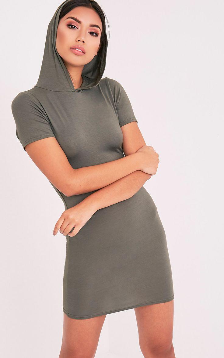 Ruby Khaki Jersey Hooded Short Sleeve Bodycon Dress