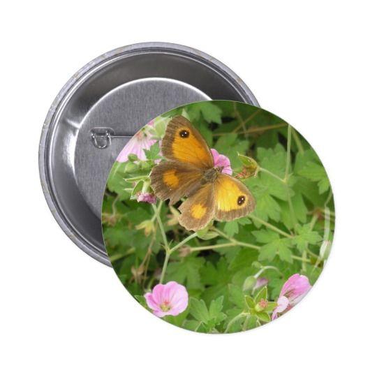 Orange Butterfly Pink Flowers Pinback Button