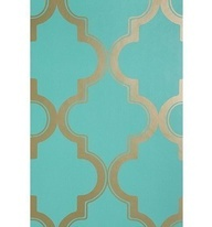 Turquoise & Gold wallpaper powder room?