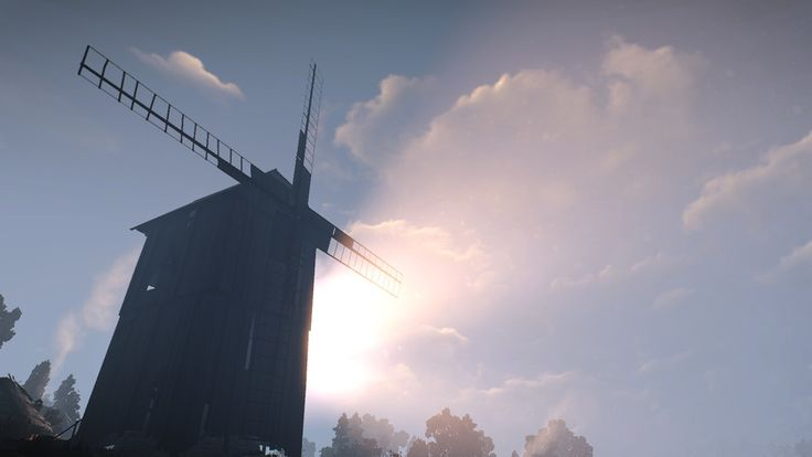 #witcher3 #cdprojektred #landscape #art #beautiful #moment #love #pic #ambience #windmill #sky #clouds