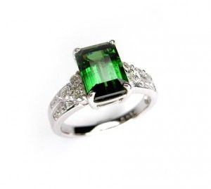 Stunning forest green natural Tourmaline, set in 18ct white gold with diamonds. Ring by Anania Jewellers, Sydney. #Tourmaline #October #Birthstone #Dress #Rings #Sydney