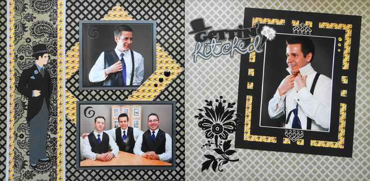 Scrapbook Page - Gettin' Hitched- The Groom -  2 page masculine wedding layout with a man in a tuxedo - from Wedding Album 1