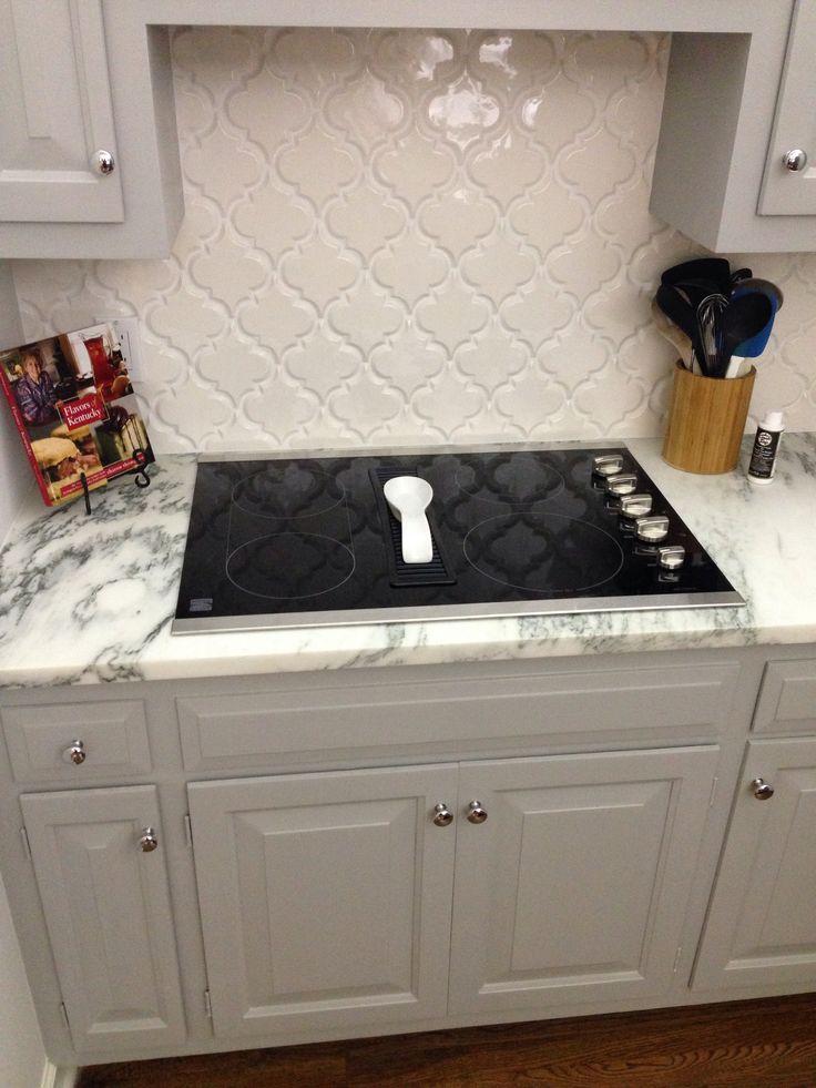 Best Kitchen Renovations Arabesque Tile Backsplash White 400 x 300