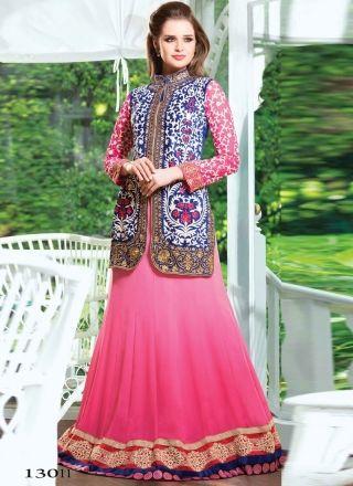 Pink And Blue Velvet Designer Wedding Lehenga Saree http://www.angelnx.com/Sarees/Lehenga-Sarees