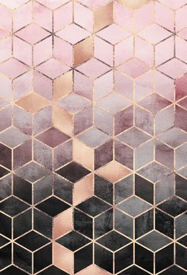 Pink Grey Gradient Cubes - Elisabeth Fredriksson - Aluminium Print