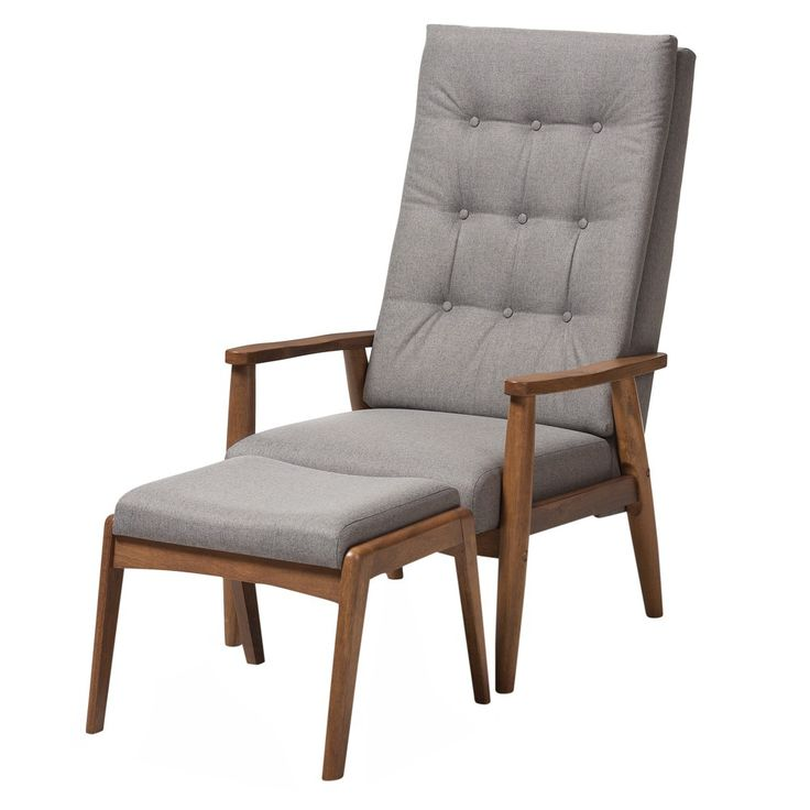 "Roxy Mid - Century Modern Wood Finish - Back Lounge Chair and Ottoman Set - Grey, ""Walnut"" Brown - Baxton Studio"