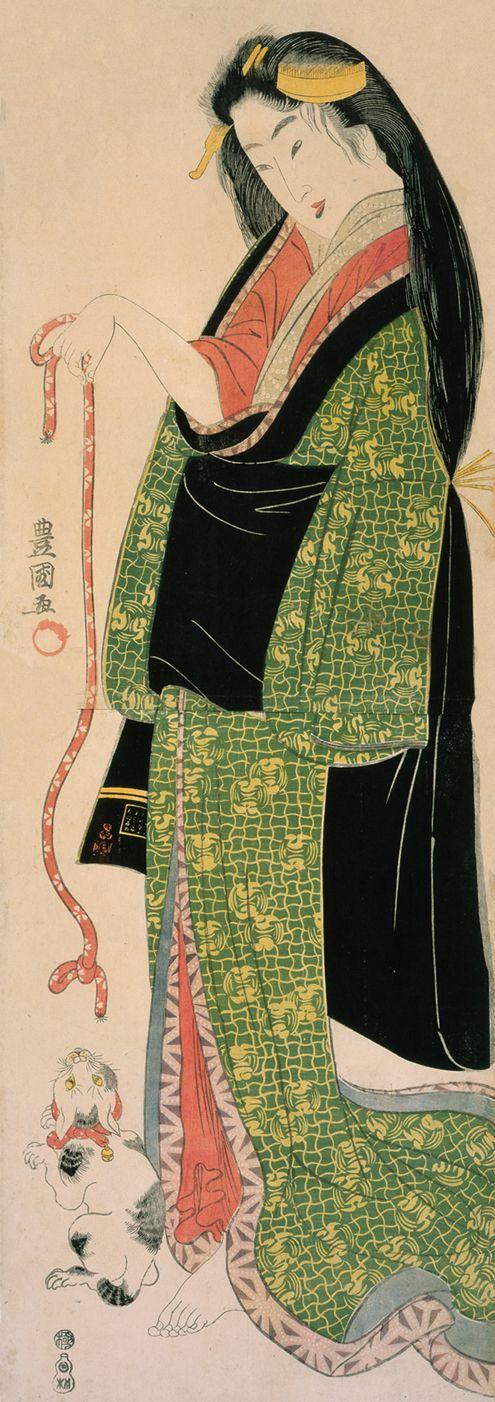 Bijin and cat, 19th century, Japan, by artist  Toyokuni