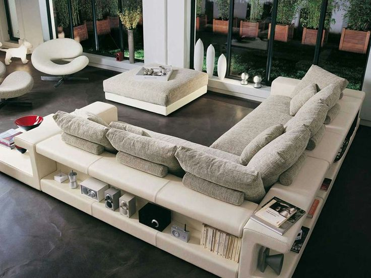 Amazing White Sofa Design With Bookcase In The Behind And Side Sofa For  Decoration Your Living Room Beautiful Sofa Design With Bookcase Ideas For  Your ...