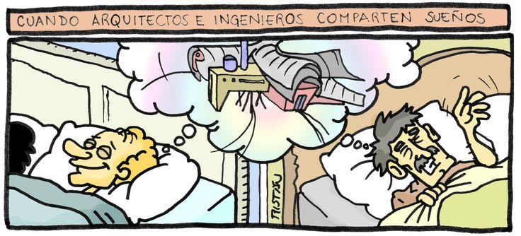 La relación entre el arquitecto y el ingeniero: tiras humorísticas por Tristán Comics
