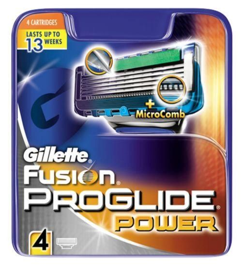 Gillette Fusion Proglide Power 4's. With Precision Trimmer on the back for accurate edging and shaving + Enhanced Lubrastrip (vs. MACH3) for smooth glide. #grooming #style #health