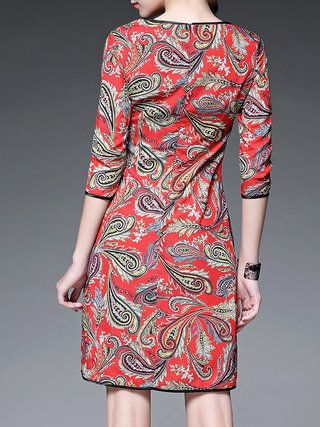 Red Polyester Vintage Midi Dress