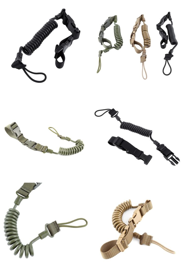 [Visit to Buy] Telescopic Secure Tactical Pistol Buckle Elastic Lanyard with Tape Belt Anti-lost Spring Lanyard Sling Quick Release #Advertisement