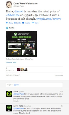 Xbox One PS4 price release    http://gg3.be/2013/05/22/xbox-one-and-ps4-price-leaked-nah-just-chill/    GG3.be isn't too concerned about the avalanche of misinformation about the recent Xbox One reveal. Let them sort it out! However, one of those would've been easily omitted by simply reading the accompanied text. That goes for the PS4 as well. Just relax, they have their top men on it. Top. Men.