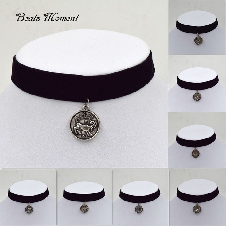 Velvet Ribbon With Pendant Twelve Constellations Black Velvet Choker Necklace B&M Necklaces And Chokers 2015 Gothic Choker