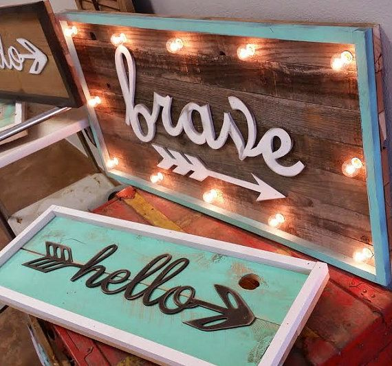BIG Vintage Inspired BRAVE Light Marquee Sign Custom… Home Decor Family Room Bedroom Wedding Anniversary Birthday