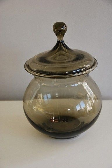Krukke / vase, Richard Duborgh, Etsemerket Plus, Fredrikstad. H 14,5 cm (uten lokk), B 13,5 cm. FINN.no - Mulighetenes marked