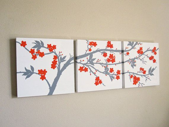 canvas wall art set 3 piece triptych abstract orange and gray cherry blossoms original painting. Black Bedroom Furniture Sets. Home Design Ideas