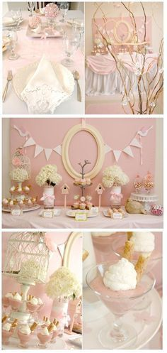 Soft pink and pearl white set the stage for elegance! This bird themed baby shower turned out super cute. I really like the sparkling birds and the de