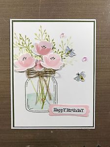 Stampin Up Mason Jar Card Kit of 4 / Happy Mom's Day / Get Well / Sympathy & meer