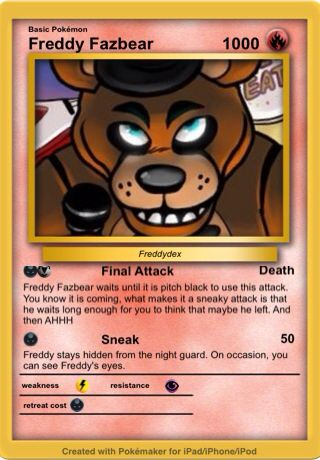 Freddy Fazbear from Five Nights at Freddy's Pokemon card