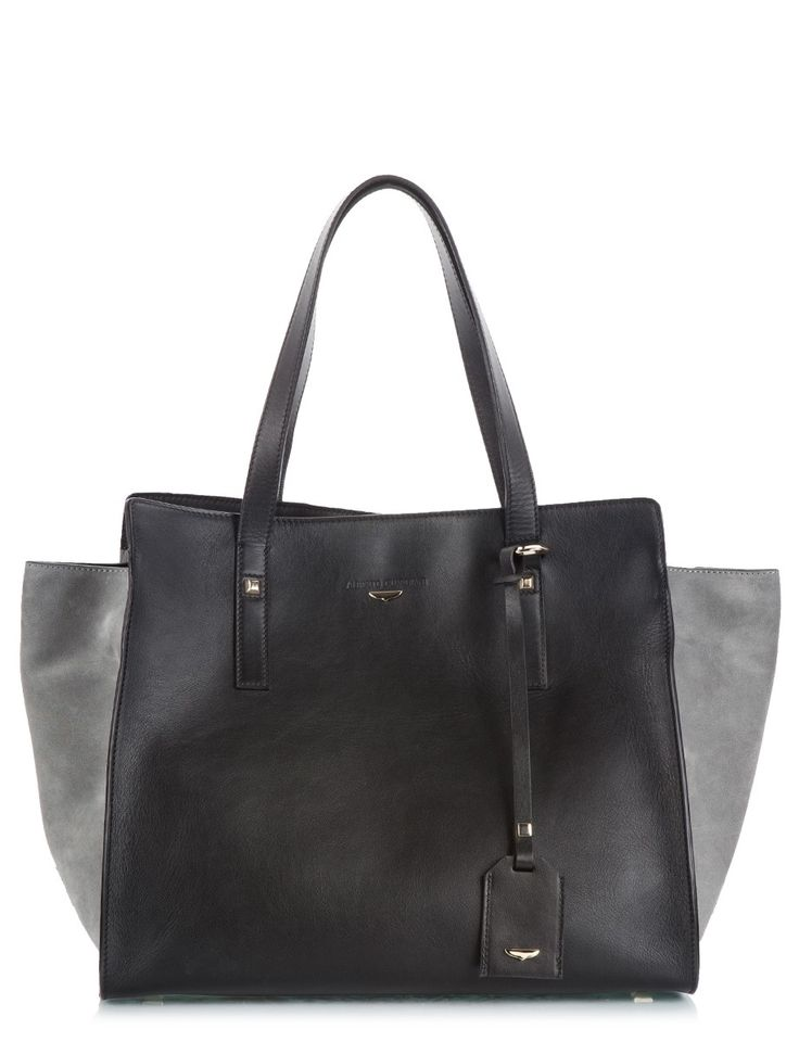 Alberto Guardiani Black calfskin leather & grey royal suede trapeze tote bag