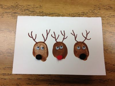 Bunnies too, for easter, or chicks - the students stamp their thumbprint three times.  Then they decorate their thumbprints to look like reindeer by adding eyes, craft balls for noses, and draw on antlers.  They also add a message inside their card