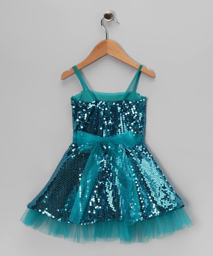 Sophia Young Teal Sequin Dress &amp Shawl - Toddler &amp Girls  Kid ...