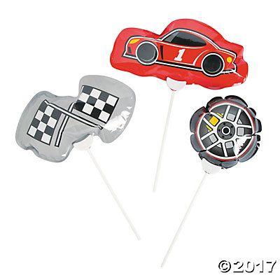 Self-Inflating Race Car Birthday Mylar Balloons