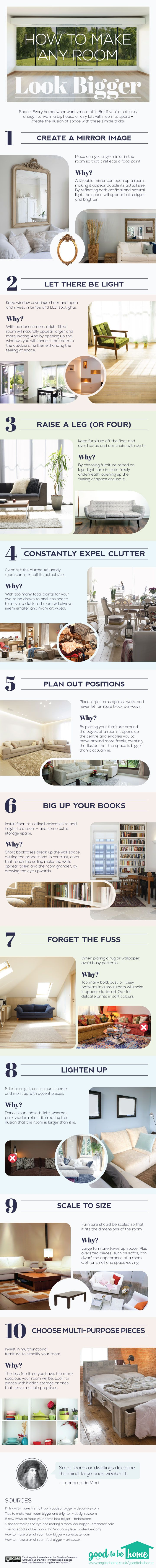 INFOGRAPHIC How To Make A Small Space Look Bigger Decorating Living RoomSmall