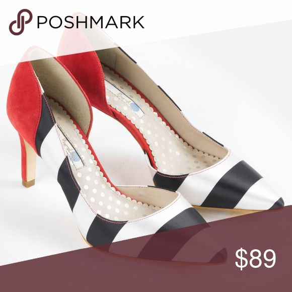 NEW Boden red suede striped The Court Heels Brand new without box, size 36.5. Photos coming! Boden Shoes Heels