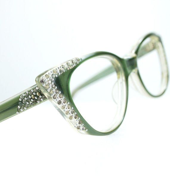 64bca6837c4 Pointy Green Rhinestone Cat Eye Glasses or Sunglasses Frames Vintage 50s Optical  Frame FRANCE medium 48 21 from thenovelty on Etsy. Saved to Accessories.