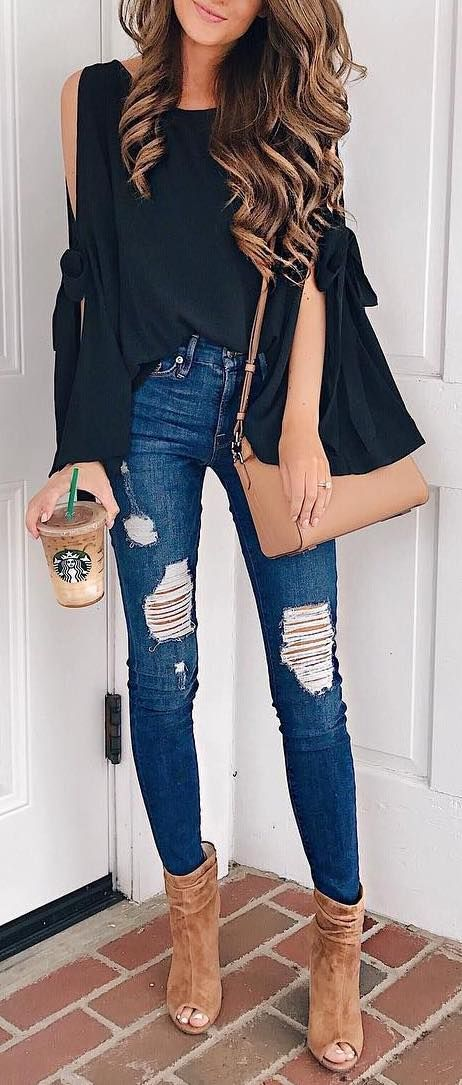 fall outfit ideas / olive bell sleeve knit + ripped denim