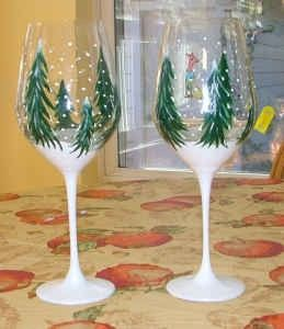 winter trees wine glasses