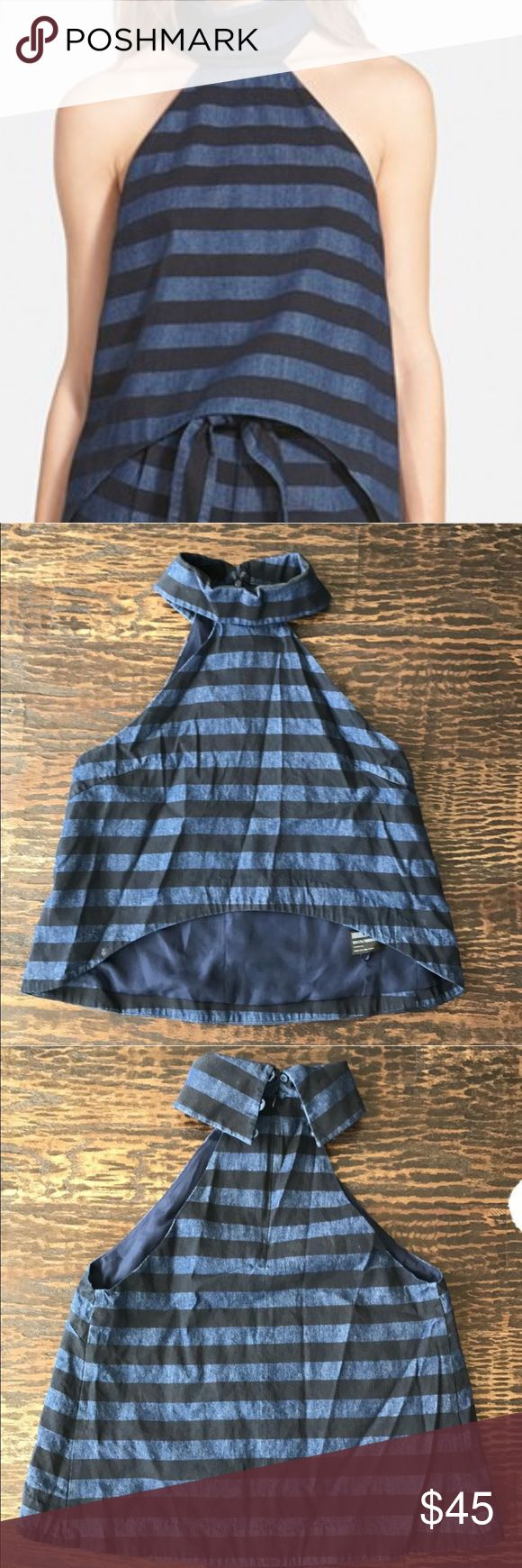 """Finders Keepers The Label Stripe Halter Top Navy and chambray stripes. Curved hem Halter Top styled with an exaggerated turtleneck. 16"""" center front. Length. 21 1/2 back length. Hidden back zipper. Lined. 100% cotton. Finders Keepers Tops"""