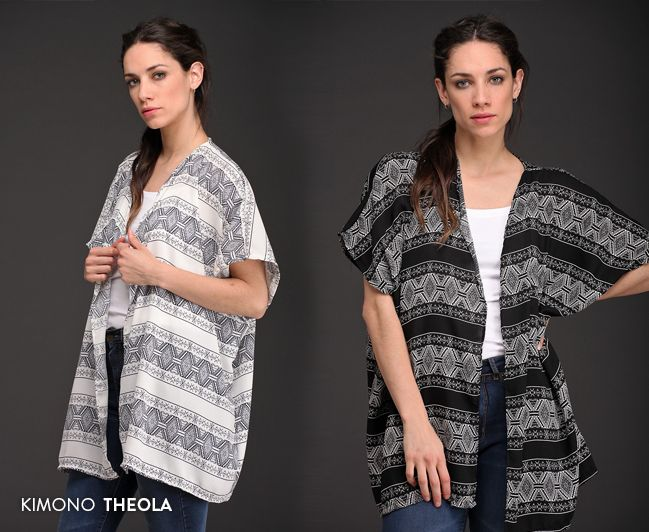 Kimono Theola: una prenda exclusiva, confeccionada en creppe labrado de estampado bitono y diseño de guardas. #TallesAmplios #ModaParaTodas #NuevaColección