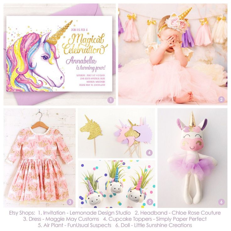 I think it would be so much fun to plan a pretty unicorn themed birthday party! I loved searching Etsy for these adorable unicorn party details to coordinate with my unicorn invitation! Be sure to look up these other shops too for these pretty pieces!