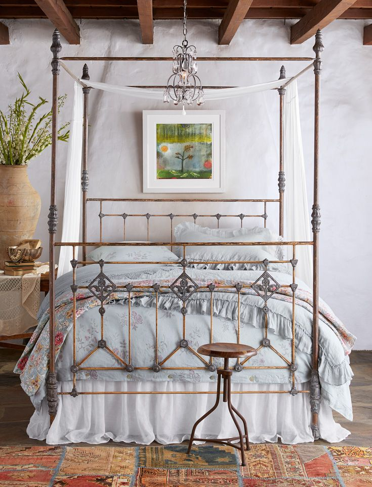Grand Tour Canopy Bed - canopy bed frame with tall, finial-capped posts. Handcrafted in the USA of steel with aluminum castings.